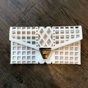 White geometric clutch